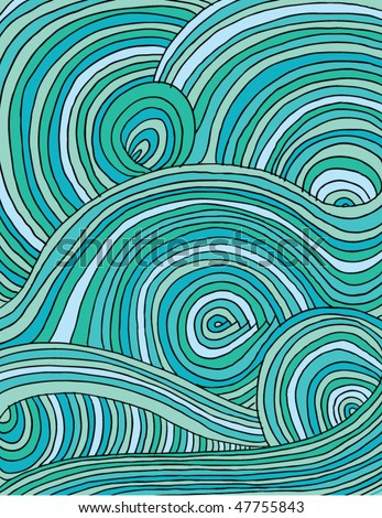 Doodle waves full page - stock vector