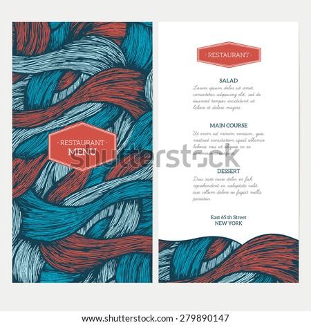 Doodle waves menu template. Vector illustration - stock vector