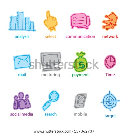 Doodle Web Icon Set Vector Illustration - stock vector