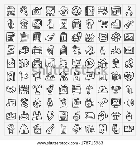 doodle web icons set - stock vector