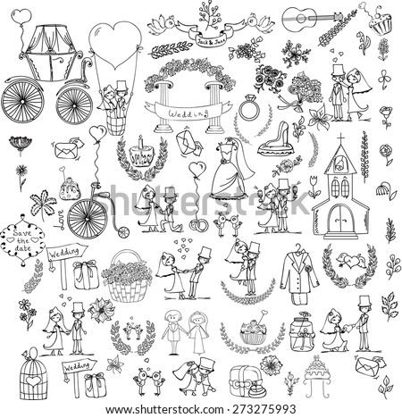 Doodle wedding set for invitation cards, including template design decorative elements - flowers, bride, groom, church, hearts  - stock vector