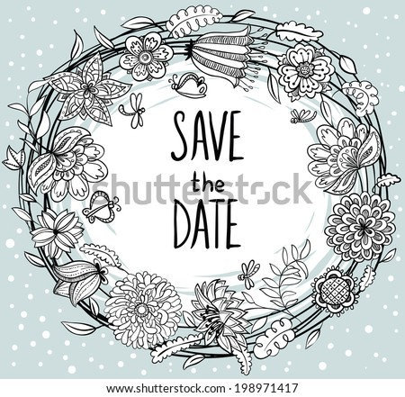 Doodle wedding sketchy floral wreath - stock vector
