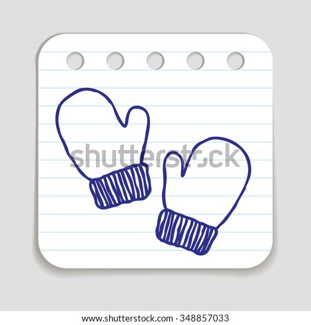 Doodle Winter Mittens icon. Winter sports kids wear for playing outdoors. Blue pen hand drawn infographic symbol on notepaper. Line art style graphic design element. Web button with shadow. - stock vector