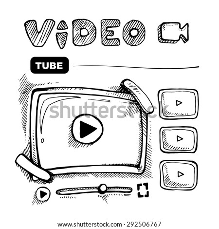 doodle wireframe of video player. Web page template. Vector picture - stock vector