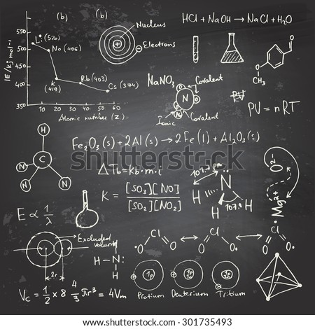 Doodle writing and drawing of chemical formulas with a chalk on a blackboard - stock vector