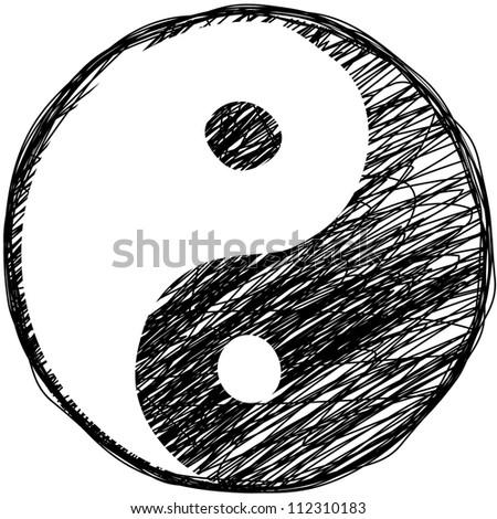 Doodle yin-yang symbol - stock vector