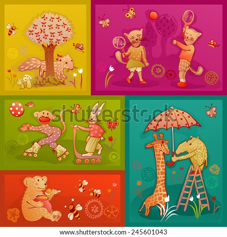 doodle young fox, cat, monkey, rabbit, bear, giraffe and rhinoceros playing and having fun - stock vector
