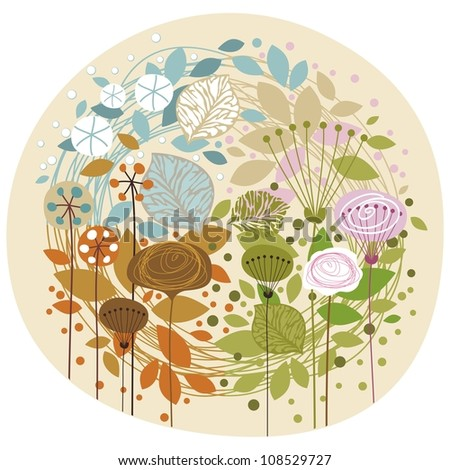 Doodled, decorative illustration of the four seasons - stock vector