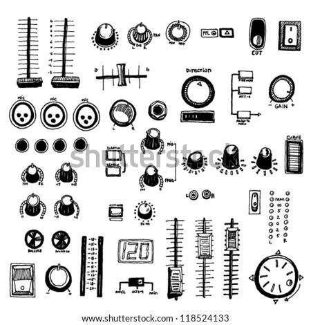Doodled Dj Mixer Buttons - stock vector