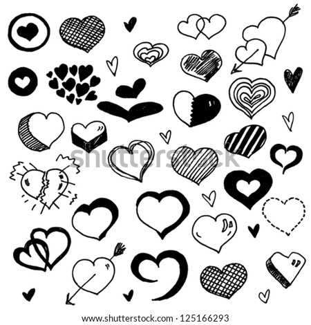 Doodled Hearts - stock vector