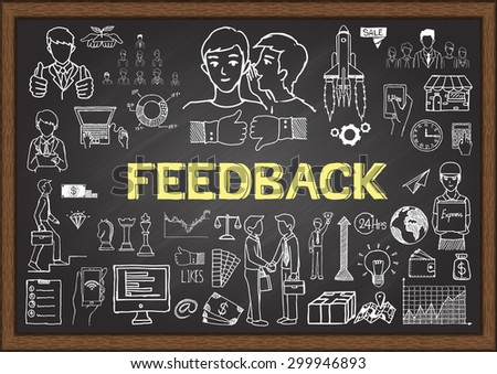 Doodles about feedback on chalkboard. - stock vector