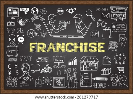 Doodles about franchise on chalkboard. - stock vector