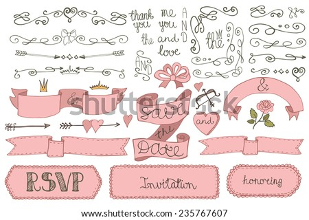 Doodles border,arrow,badges,hearts,ribbon,swirl,love decor elements set.For design templates,invitations.Hand drawing style. For weddings,Valentine day,bridal shower.Vector - stock vector