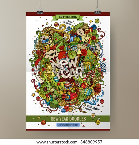 Doodles cartoon colorful Happy New Year hand drawn illustration. Vector template poster design - stock vector