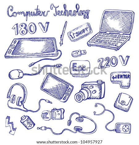 doodles computer technology - stock vector
