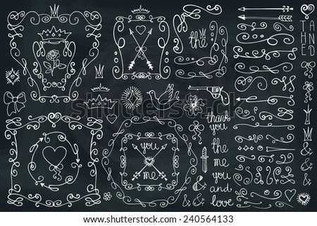 Doodles corner,arrow,bow,hearts,crown,love decor element set. For design template,invitation. Children hand drawing style. For wedding,Valentine day,holiday,Easter,birthday. Vector Chalkboard - stock vector