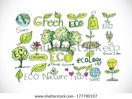 doodles ECO vector set - stock vector