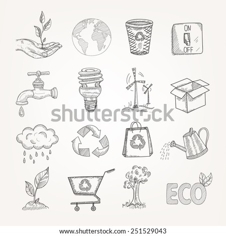 Doodles garbage recycling global conservation ecology icons set isolated vector illustration - stock vector