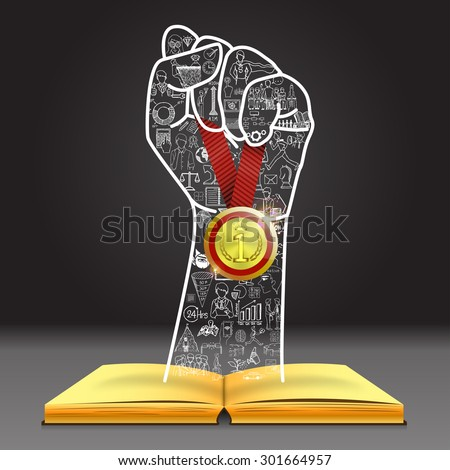 Doodles in hand shape holding the winner medal over open book. You can do it. - stock vector