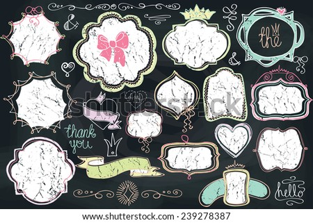 Doodles labels,badges,frame,arrow,hearts,crown,love decor elements set.For design template,invitation.Children's hand drawing style.For wedding,Valentine day,holiday,easter,birthday.Chalkboard.Vector - stock vector
