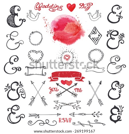 Doodles  lettering ampersands,catchwords,arrows,wedding romantic decor elements set.Watercolor stain, hand drawing sketchy vintage vector. Weddings,Valentines day,holidays.Design templates,invitations - stock vector