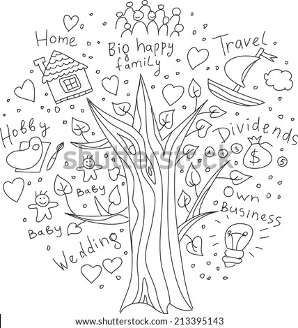 Doodles tree of dreams and goals Drawing your tree of life dreams and targets. Black and white doodles illustration. - stock vector