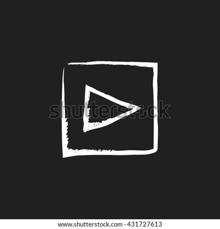 doodlw drawing play button - stock vector