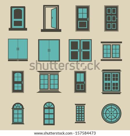 Door and window vector - Color - stock vector