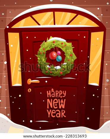 Door Christmas Decoration. Xmas Wreath with Balls and Lights. Holiday Greetings. Snowflakes and Snowdrifts. Holiday Vector Illustration for Christmas Banners, Placards and Posters. - stock vector