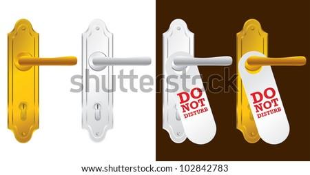 Door handle in gold and silver - vector illustration - stock vector