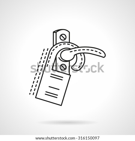 Door handle with hanging label. Flat line design vector icon. Sign and symbols for hotel business. Elements of web design. - stock vector