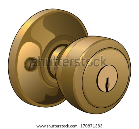 Door Knob is an illustration of a doorknob in a reflective gold color with keyhole. - stock vector