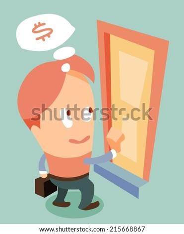 door to door marketing. Flat vector illustration - stock vector