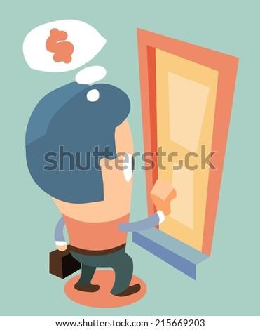 door to door Salesman. Flat vector illustration - stock vector