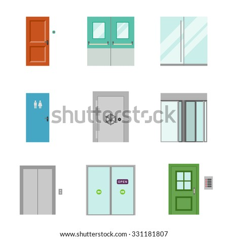 Doors for different purposes in flat style. - stock vector