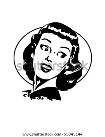 Doris - Cute Retro Gal Looking Over Her Shoulder - stock vector