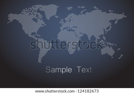dot world map vector - stock vector