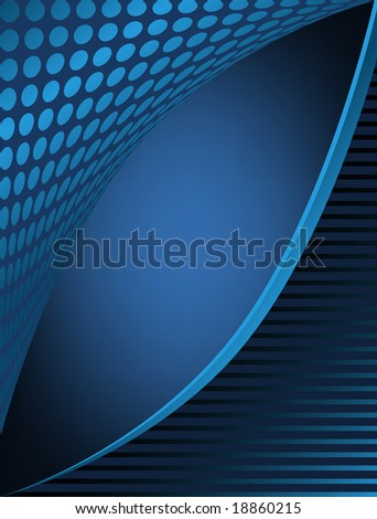 Dots and stripes blue business abstract has angle opening for text area and glow background. - stock vector