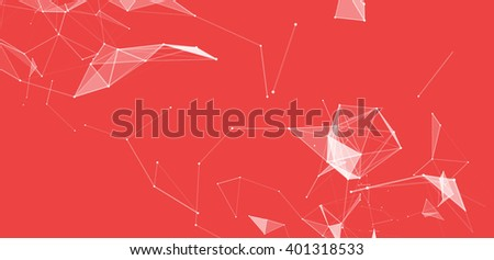 Dots and triangles background with particle, molecule structure. genetic and chemical compounds. creative vector. Space and constellations. Science and connection concept. Social network. Red  banner - stock vector