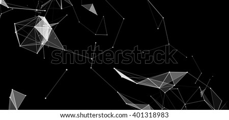 Dots and triangles background with particle, molecule structure. genetic and chemical compounds. creative vector. Space and constellations. Science and connection concept. Social network. black banner - stock vector