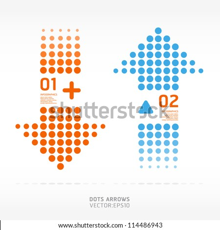 dots arrows orange and blue color / can be used for infographics / numbered banners / graphic or website layout vector - stock vector