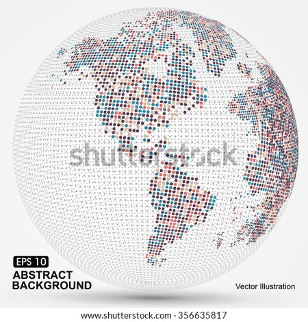Dots colorful three-dimensional map of the world,abstract graphics. - stock vector