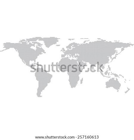 Dots Grey World Map vector Illustration - stock vector