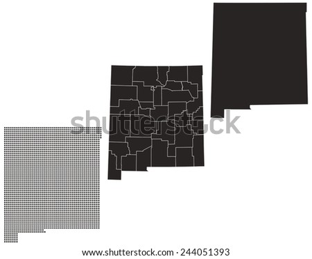 Dotted and Silhouette New Mexico map  - stock vector