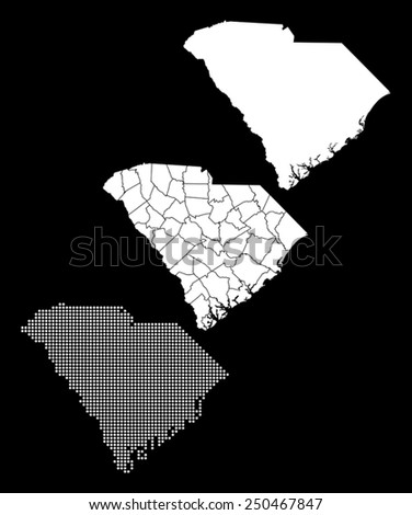 Dotted and Silhouette South Carolina map - stock vector