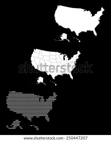 Dotted and Silhouette united states map  - stock vector