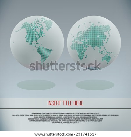 Dotted globes design vector template. - stock vector