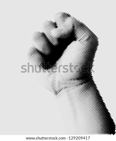 Dotted halftone clenched fist held high in protest. Design vector illustration - stock vector