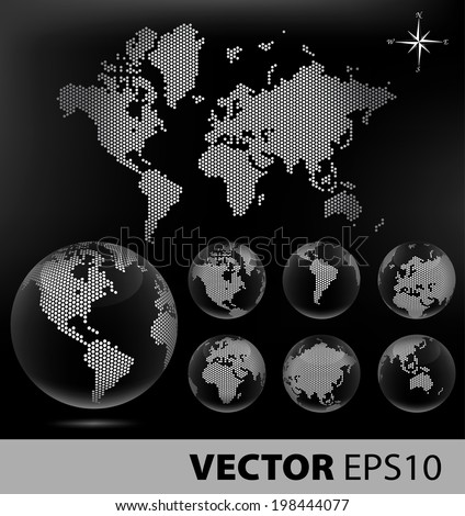 Dotted Map and Globe of the World - Black series - stock vector