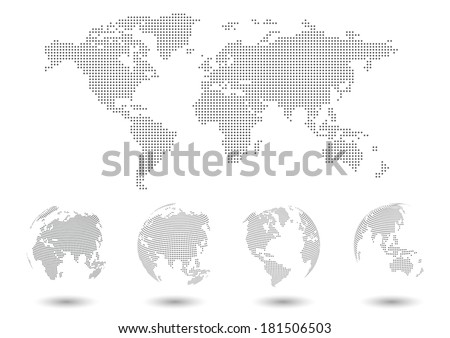 Dotted map and globes set.  - stock vector
